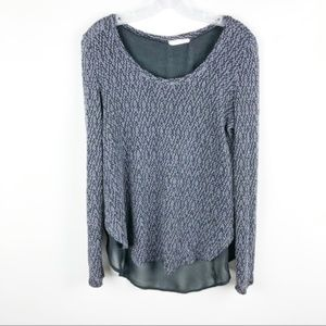 LUSH Grey Knit Black Chiffon Scoop Neck Blouse